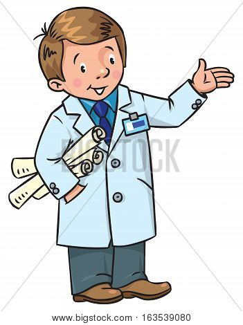 Childrens vector illustration of funny engineer or inventor. A man in coat with drawings showing by hand. Profession ABC series.