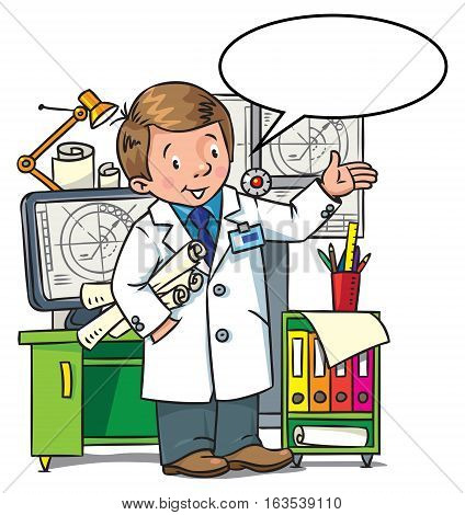 Childrens vector illustration of funny engineer or inventor. A man in coat with drawings showing by hand. Profession ABC series. With balloon for text
