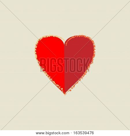 Heart isolated. Red sign on beige background. Romantic silhouette symbol linked join love passion and wedding. Colorful mark of valentine day. Design element. Vector illustration