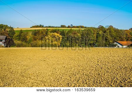 Landscape picture of Grub in Pielachvalley in autumn poster