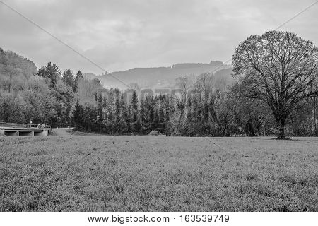 Black/Whit picture of Kammerhof in Pielachvalley in autumn