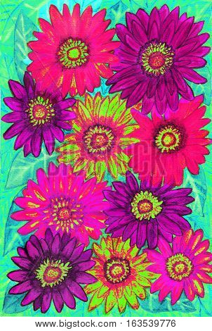 Background from gerbera flowers of pink purple and yellow colours on green leaves hand painted picture watercolours.