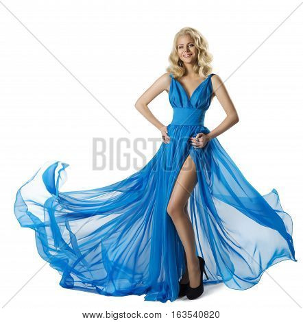 Woman Fashion Blue Dress Elegant Girl Flying Waving Gown Long Clothes Isolated over White background