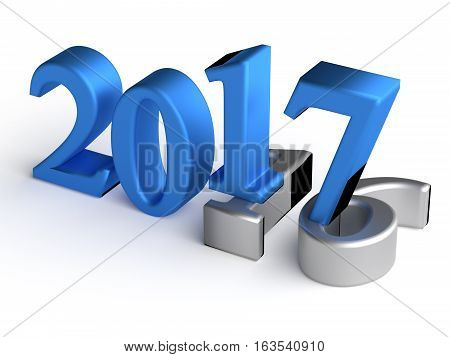 Color numbers of New Year 2017 over grey old 2016. 3d rendering