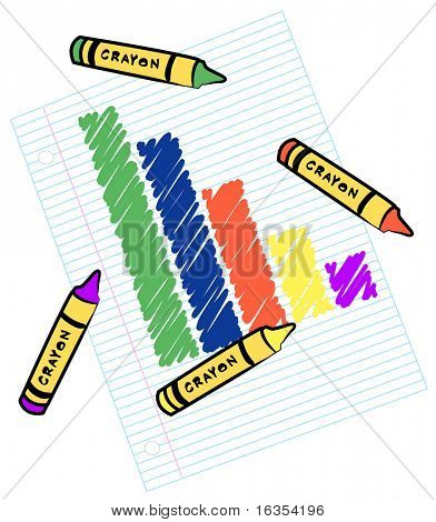 colored bar graph on lined paper - vector