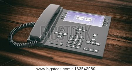 3D Rendering Office Telephone On Wooden Background