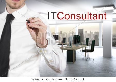 businessman in modern office pushing small button it consultant