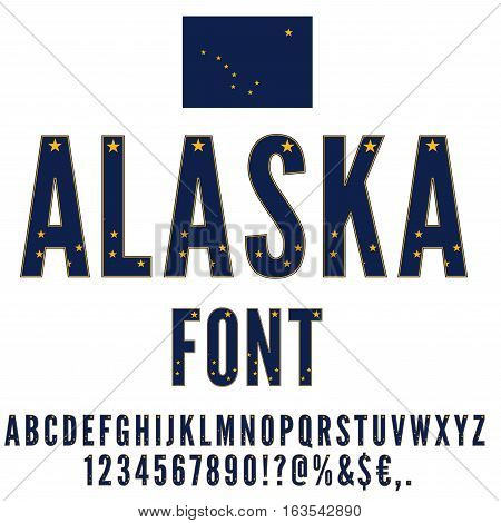 Alaska National Flag stylized Font. Alphabet and Numbers in Vector Set