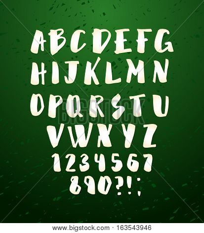 Vector alphabet. Hand drawn letters. Letters of the alphabet written with brush. Calligraphy white letters on green chalkboard background. Vector illustration stock vector.
