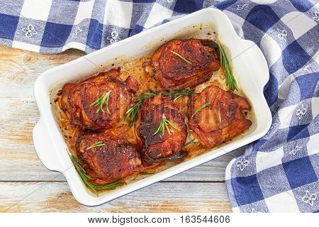 Grilled  Chicken Thighs Marinated With Rosemary And Spices