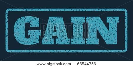 Blue rubber seal stamp with Gain text. Vector caption inside rounded rectangular frame. Grunge design and dust texture for watermark labels. Horizontal sign on a dark blue background.