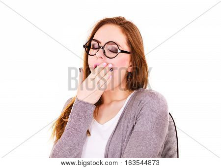 Woman sleepy tired girl yawning almost falling asleep. Health balance sleep deprivation concept. Female student or overload worker with lack of slumber on white poster