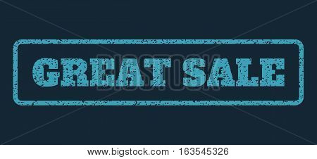 Blue rubber seal stamp with Great Sale text. Vector tag inside rounded rectangular frame. Grunge design and unclean texture for watermark labels. Horizontal sticker on a dark blue background.