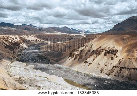 Mountain river in Himalayas , ladakh ,India .