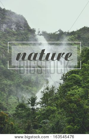 beautiful waterfall and text wording nature homepage advertising.