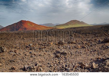 Volcano on the island of Lanzarote Canary Islands Spain