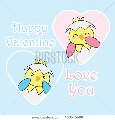 Valentine illustration with cute blue and pink chicks on love frame suitable for Valentine's greeting card, invitation card, and wallpaper