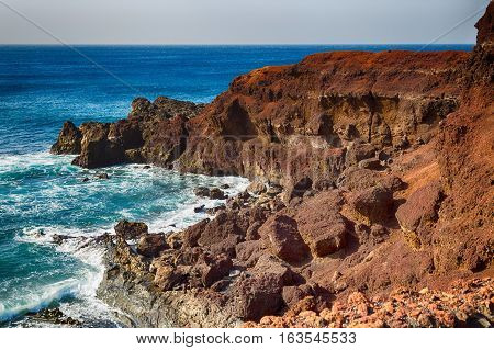 Rocky landscape of the island of Lanzarote Canary Islands Spain