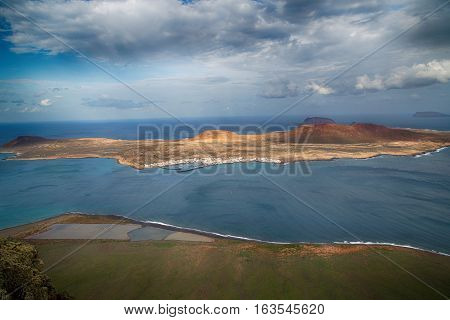 View of the part of Graciosa Island from Mirador del Rio Lanzarote Island Canary Islands Spain