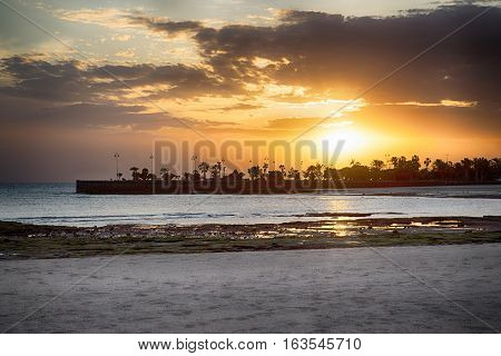 Sunset at Lanzarote Canary Islands in Spain