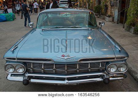 Old Vintage Chevrolet Car At Night Market, Srinakarin Road