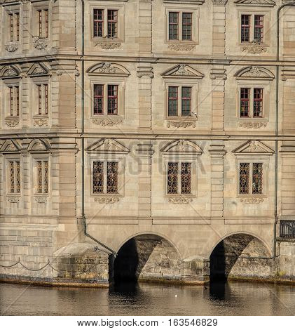 Zurich Switzerland - 27 December 2016: partial view of the facade of the Zurich Town Hall building. Zurich Town Hall (German: Rathaus) was built in 1694-1698 and currently houses the Cantonal and the City Parliaments.