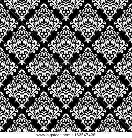 White floral damask wallpaper pattern on black background