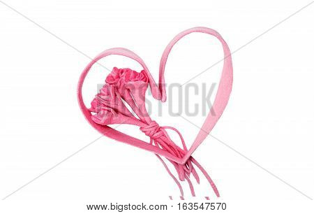 Bouquet of roses and heart silhouette isolated on white background