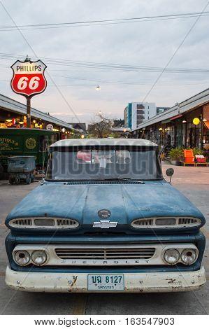 Old Vintage Blue Chevrolet Truck At Night Market, Srinakarin Road