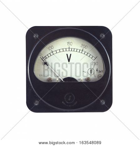 Old unplugged voltage meter shows zero voltage isolated on white closeup
