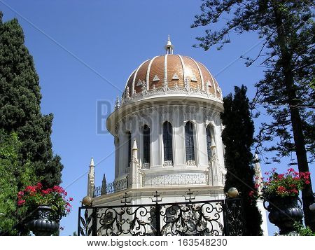 The Golden dome of the Shrine of Bab in Bahai Gardens in Haifa Israel May 14 2003