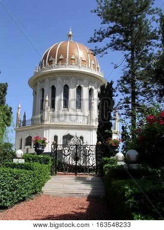 The Shrine of Bab in Bahai Gardens in Haifa Israel May 14 2003