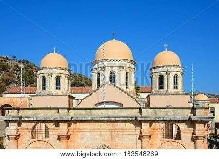 Front view of the Agia Triada monastery domes Agia Triada Crete Greece Europe.