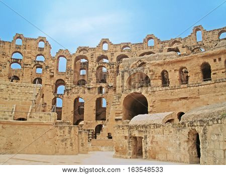 El Jem Colosseum, Tunisia.  It is capable of seating 35,000 spectators.