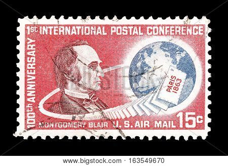 USA- CIRCA 1963 : Cancelled postage stamp printed by USA, that shows Montgomery Blair.