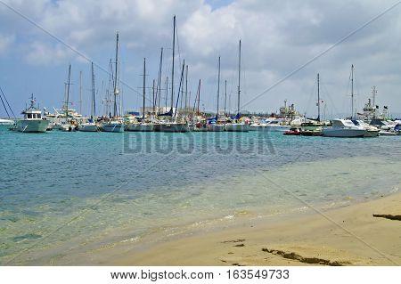 Sea coast and boats in Bizerte, Tunisia