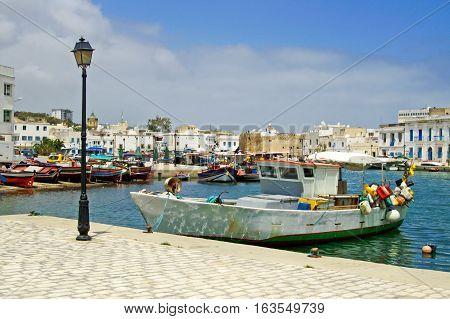 Boats near fort of Bizerte in Tunisia