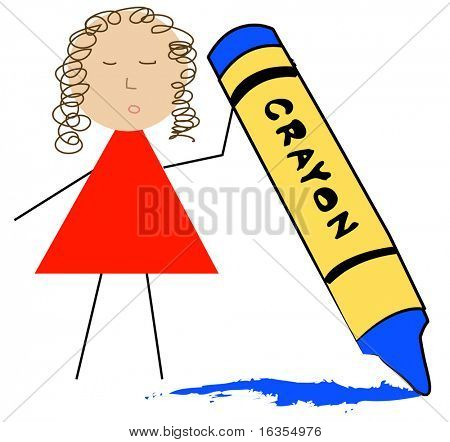 stick figure teacher holding up wax crayon
