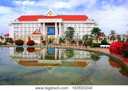 Vientiane, Laos - November 29: Prime Minister Office Building Reflected In A Pool On November 29, 20
