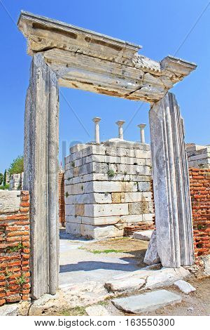 The ruins of the st. Johns Basilica constructed in the 5th Century AD by Emperor Justinian on Ayasuluk Hill, Selcuk, Ephesus, Turkey