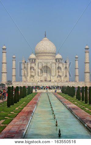 Taj Mahal With Reflecting Pool In Agra, Uttar Pradesh, India