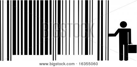 man with briefcase leaning up against barcode