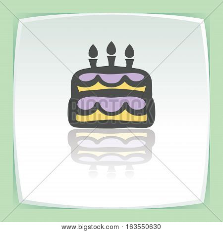 Vector outline birthday cake with candles food icon on white flat square plate. Elements for mobile concepts and web apps. Modern infographic logo and pictogram.