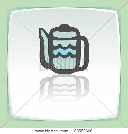Vector outline teapot icon on white flat square plate. Elements for mobile concepts and web apps. Modern infographic logo and pictogram.