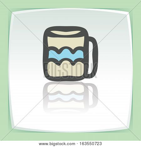 Vector outline tee or coffee cup icon on white flat square plate. Elements for mobile concepts and web apps. Modern infographic logo and pictogram.