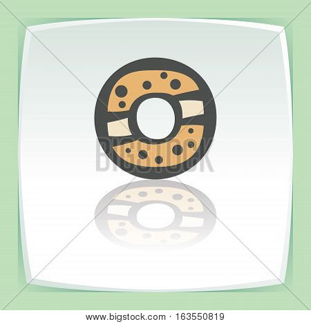 Vector outline sweet donut food icon on white flat square plate. Elements for mobile concepts and web apps. Modern infographic logo and pictogram.