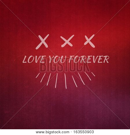 Valentine day romantic red illustration background with white font message and symbols.  Love you forever.