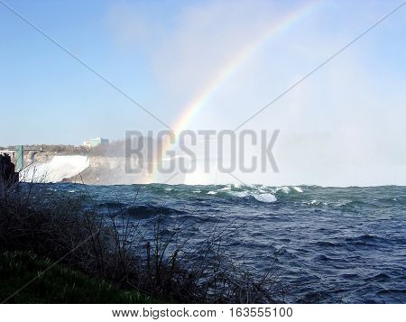 The Right Spectacular rainbow at Niagara Falls in spring Canada May 4 2003