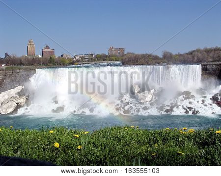 View of Niagara Falls USA in spring from Canada May 4 2003