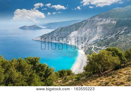 Myrtos beach, Kefalonia island, Greece. Beautiful view of Myrtos bay and beach on Kefalonia island
